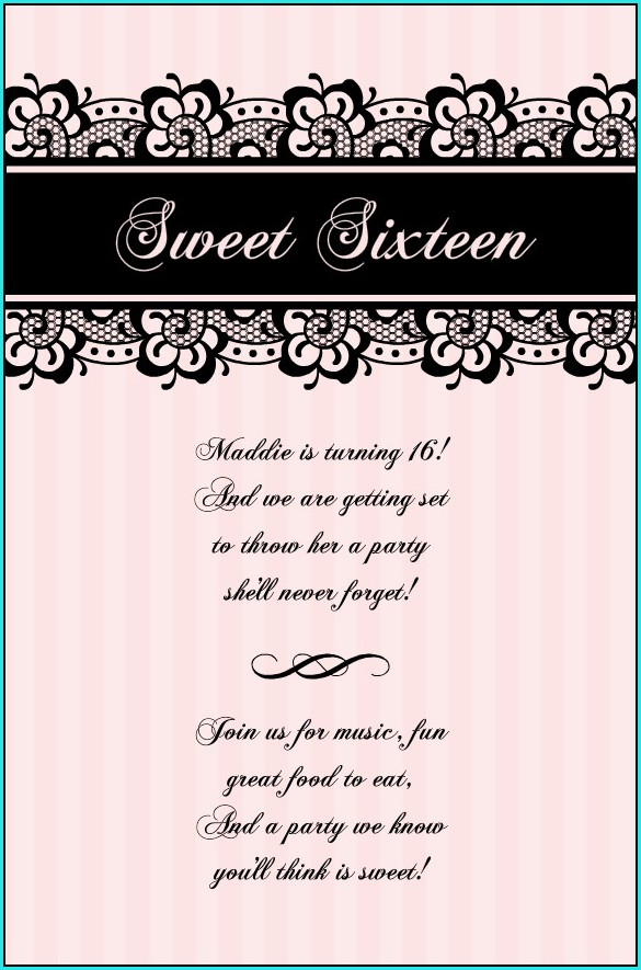 Free Printable Sweet 16 Invitation Templatesb