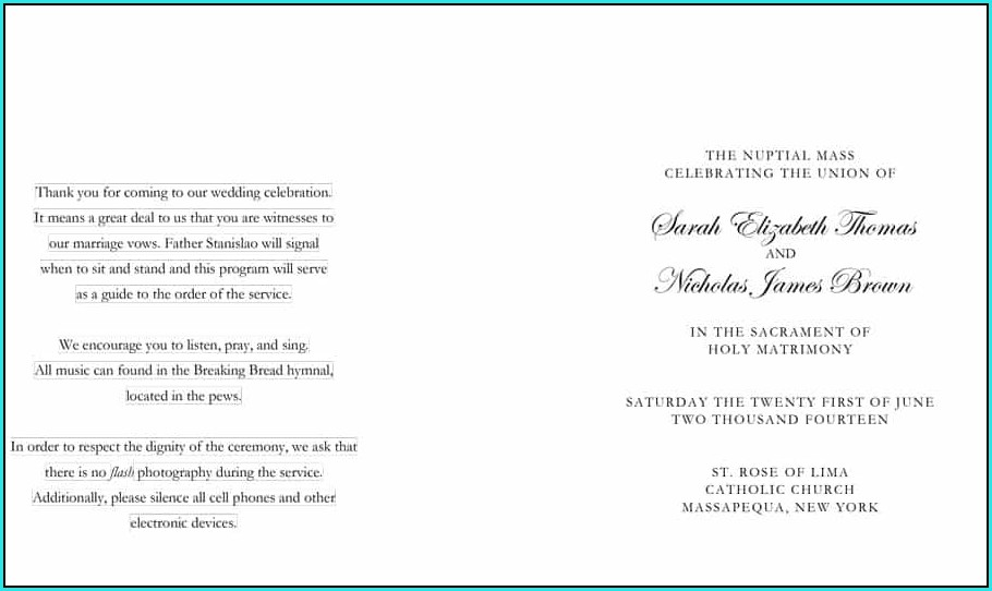 Free Printable Wedding Ceremony Program Templates