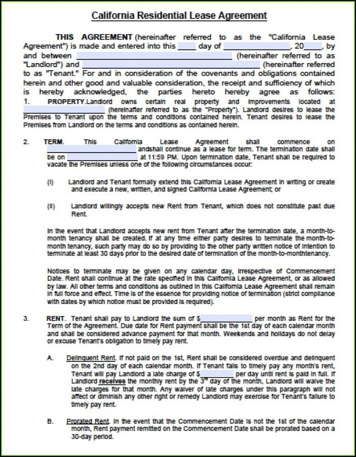 Free Residential Lease Agreement Template Word