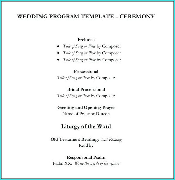 Free Simple Wedding Program Templates