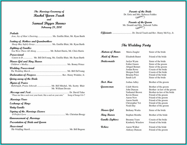 Free Wedding Program Template That Can Be Printed