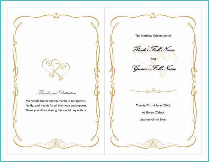 Free Wedding Program Templates For Word