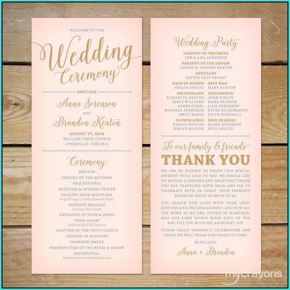 Free Wedding Program Templates Online
