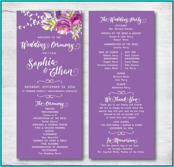 Free Wedding Program Templates To Download