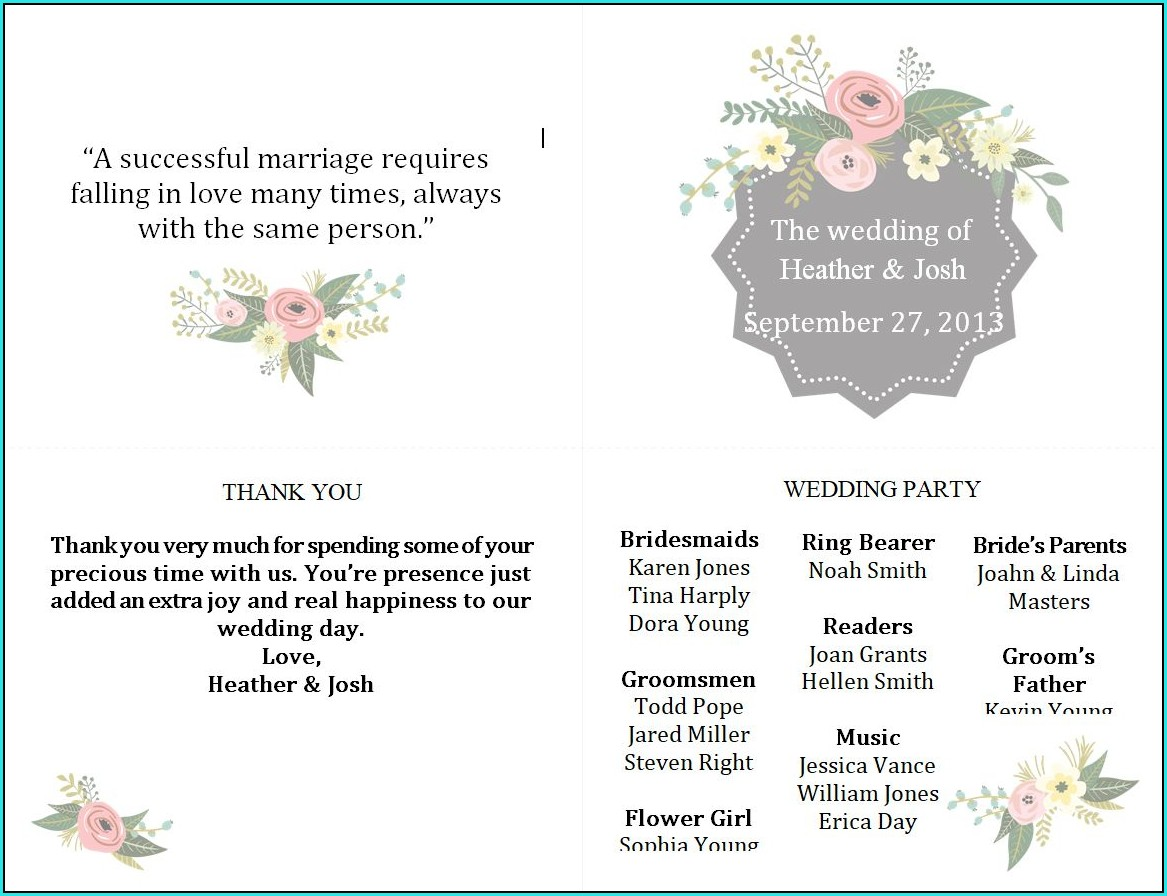 Free Winter Wedding Program Templates