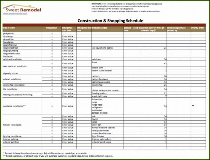 Home Renovation Project Plan Template Excel