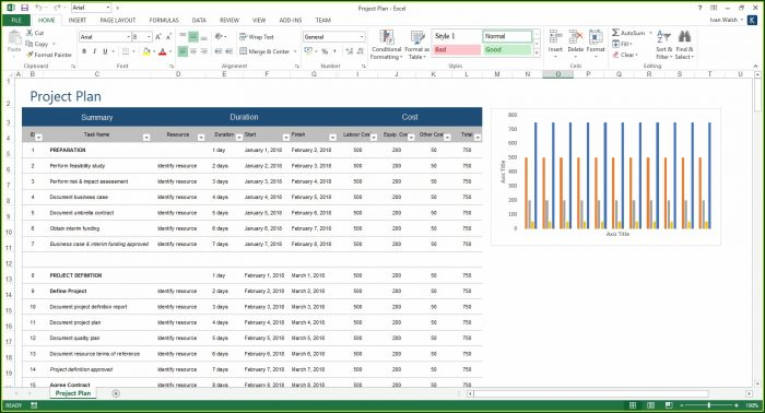 Project Plan Template Excel 2013