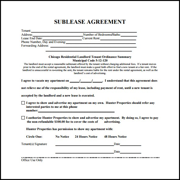 Residential Sublease Agreement Template Free