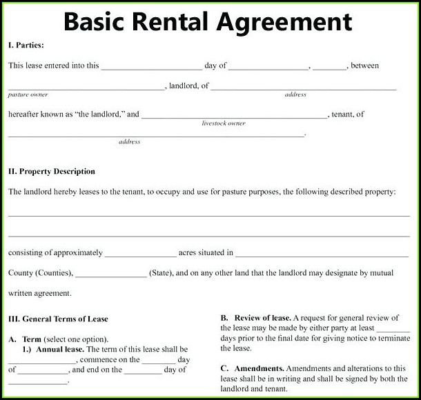 Simple Lease Agreement Template Word