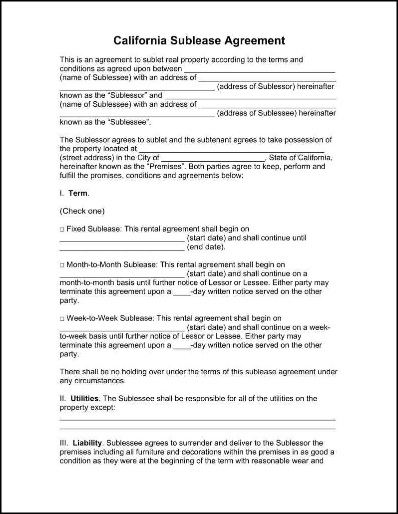 Sublease Agreement Template Florida