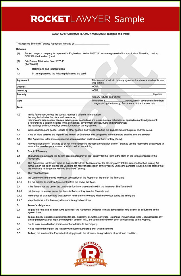 Tenancy Agreement Template Uk Word Document
