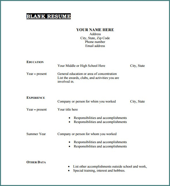 Blank Resume Template Free