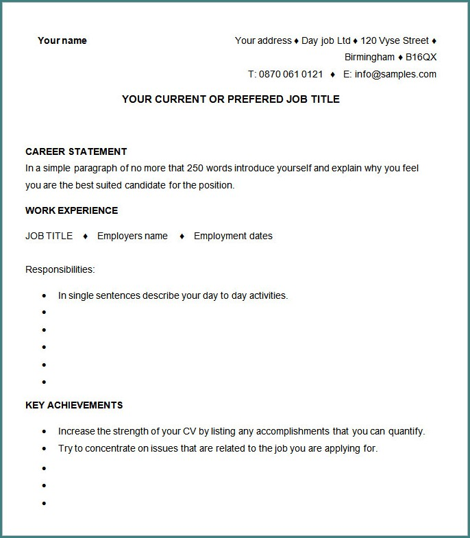 Blank Resume Template To Fill In