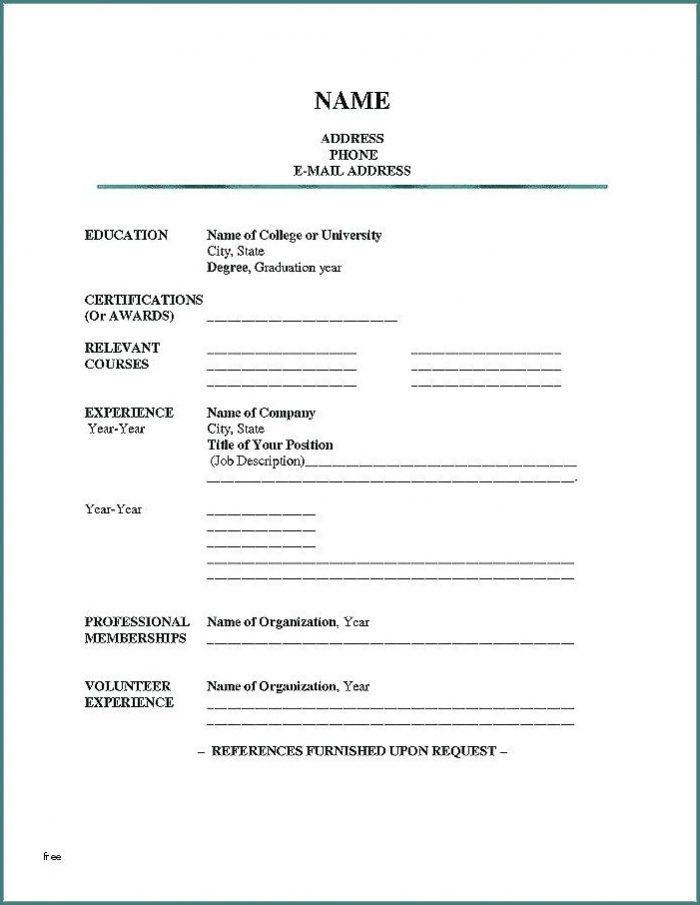 Blank Resume Templates For Microsoft Word