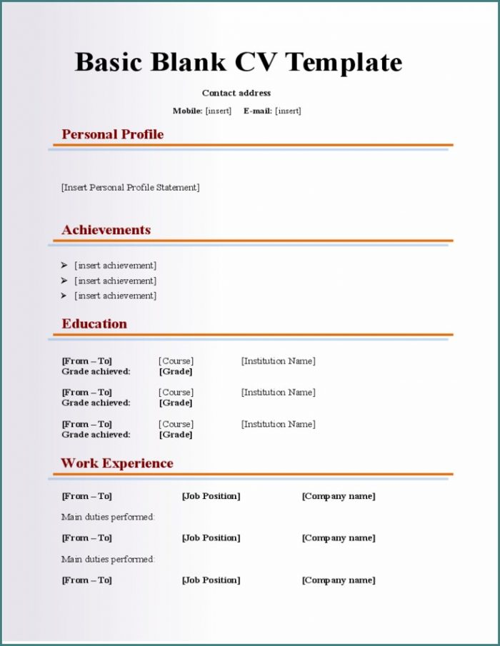 Blank Resume Templates Free