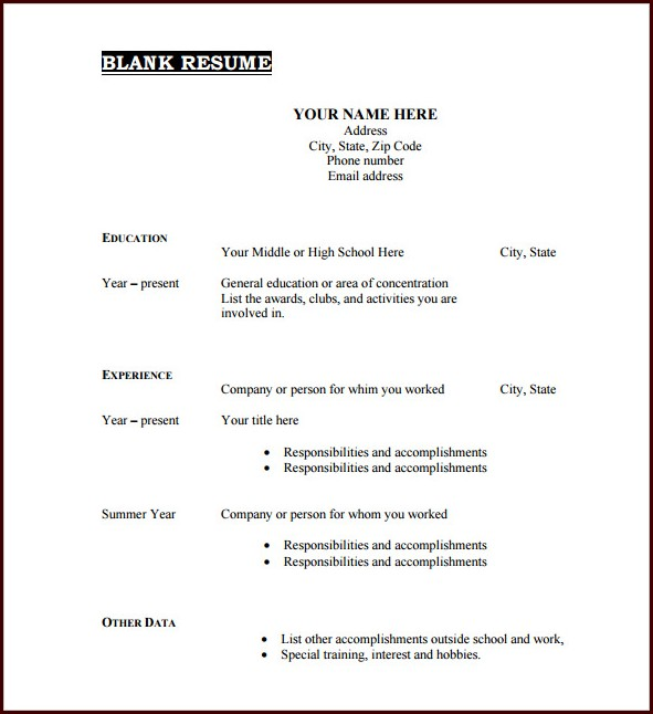 Download Blank Resume Templates