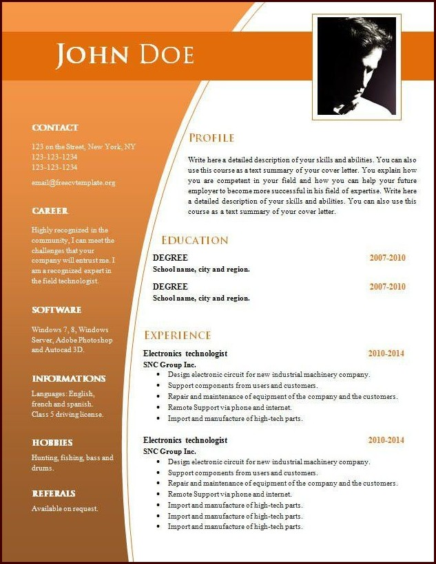 Download Resume Templates For Word Free