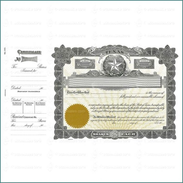 Goes Stock Certificate Template