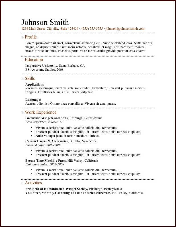 Resume Templates No Download