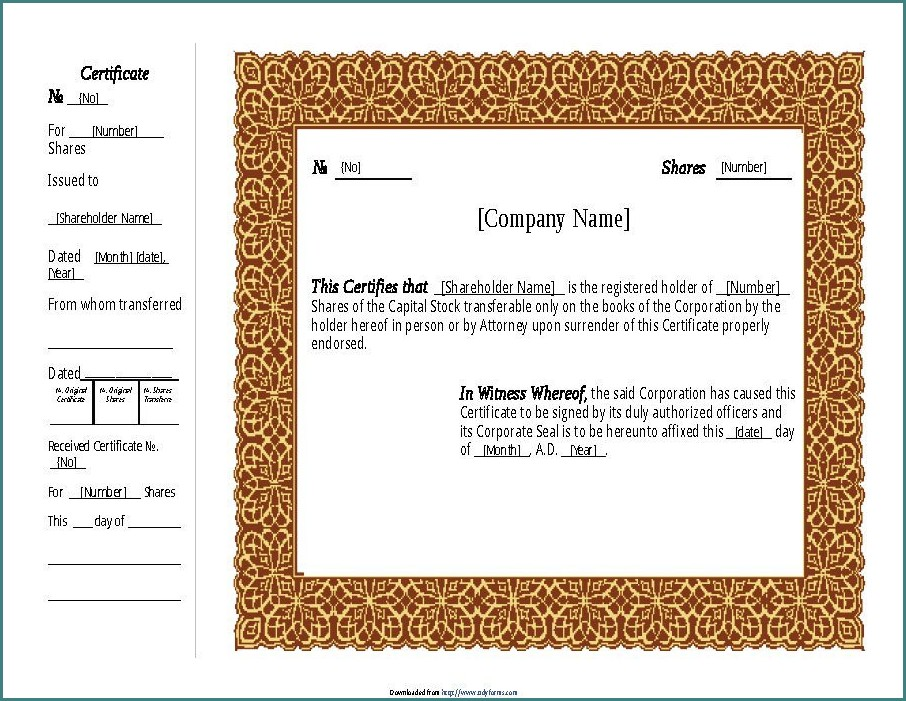 Stock Certificate Template Free Download