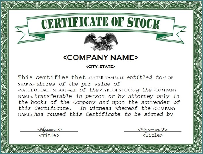 Stock Certificate Template Microsoft Word