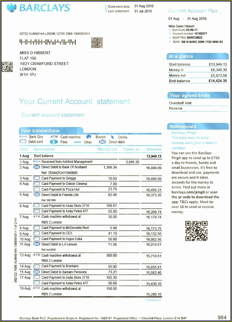 Barclays Bank Statement Template Pdf