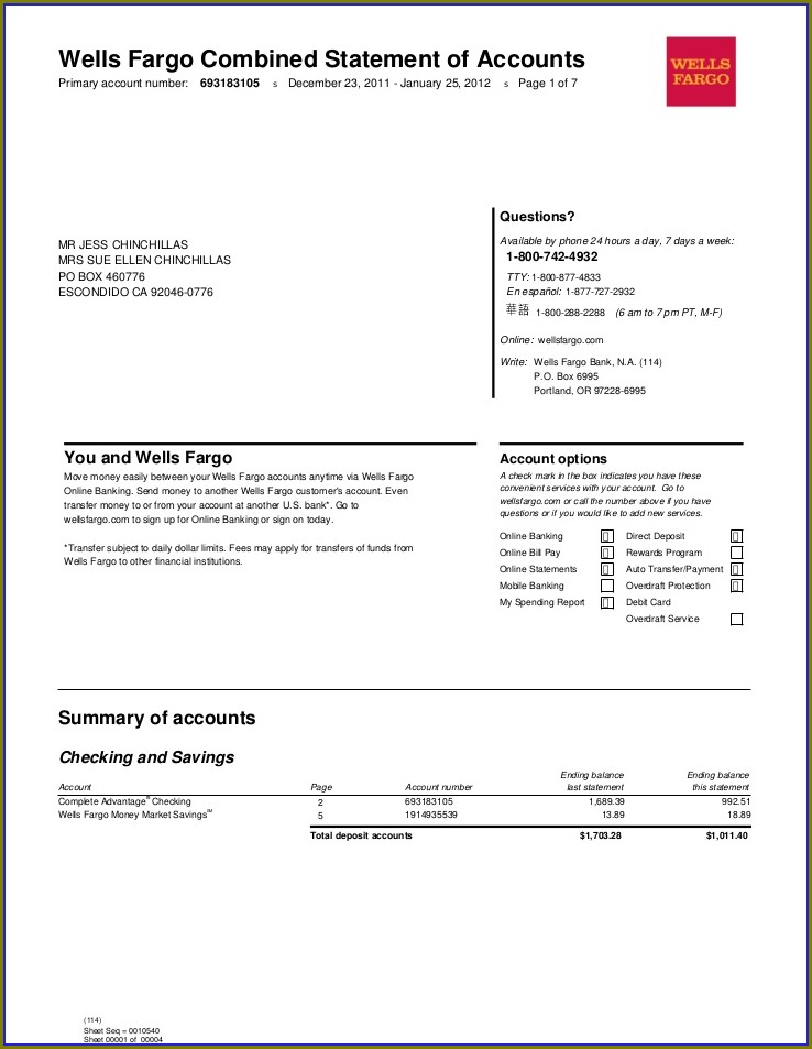 Chase Bank Statement Template Word