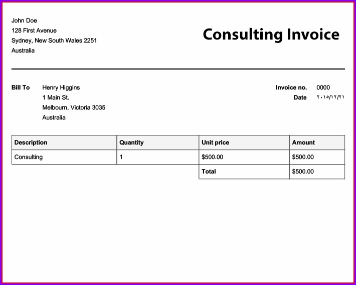 Free Invoice Format In Word