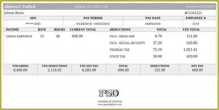 Pay Stub Template Excel Canada