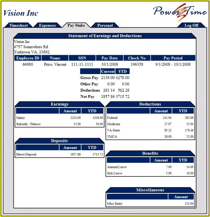 Pay Stub Template Ontario Canada Excel