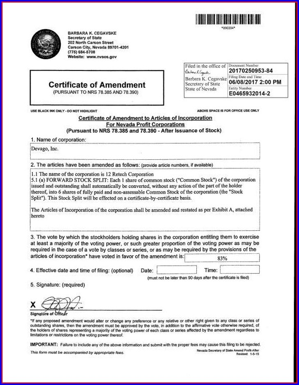 Articles Of Incorporation Amendment Form