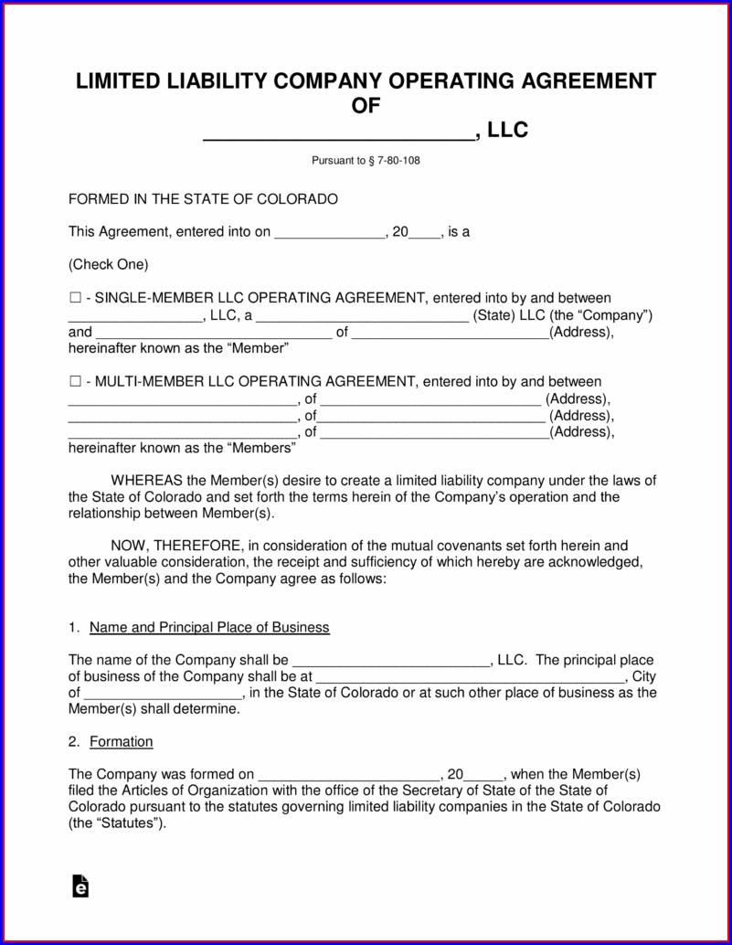 Articles Of Incorporation Colorado Template