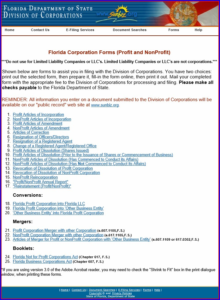 Articles Of Incorporation Florida Non Profit Template
