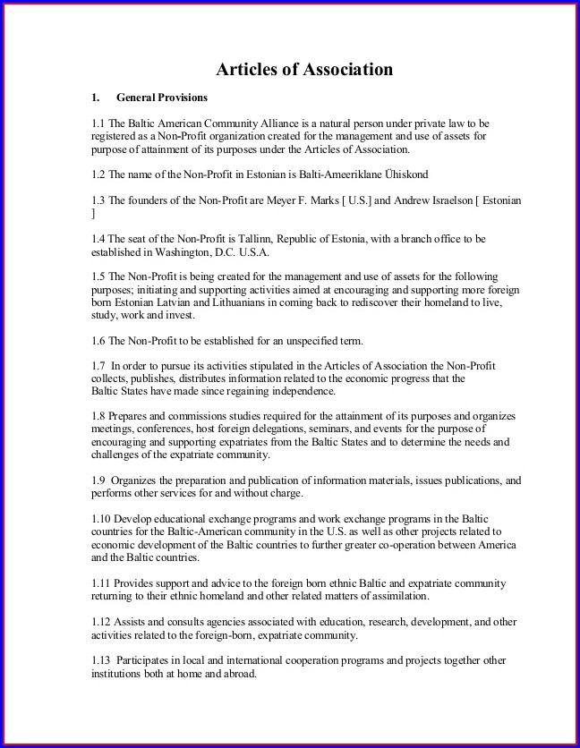 Articles Of Incorporation For Churches Template