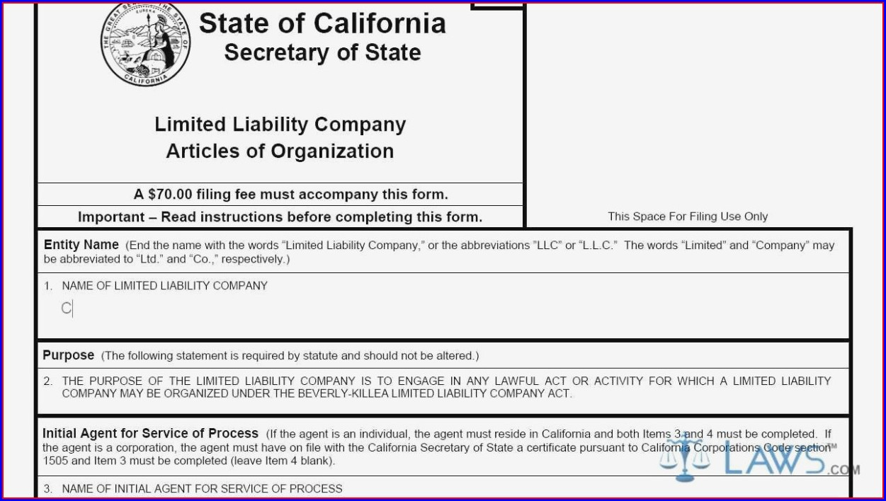 Articles Of Incorporation Form California