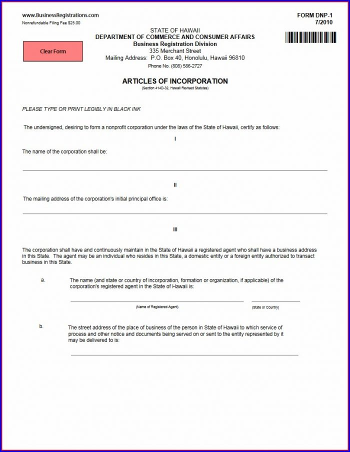 Articles Of Incorporation Form Dnp 1