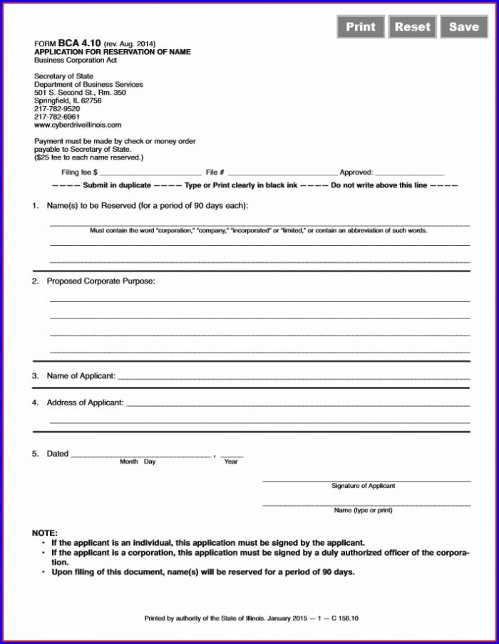 Articles Of Incorporation Illinois Template