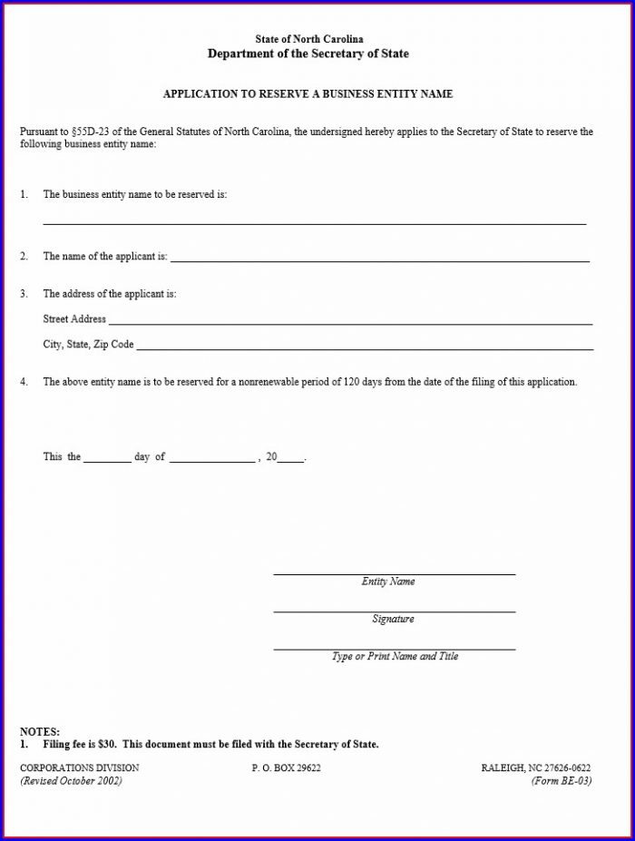 Articles Of Incorporation Nc Template