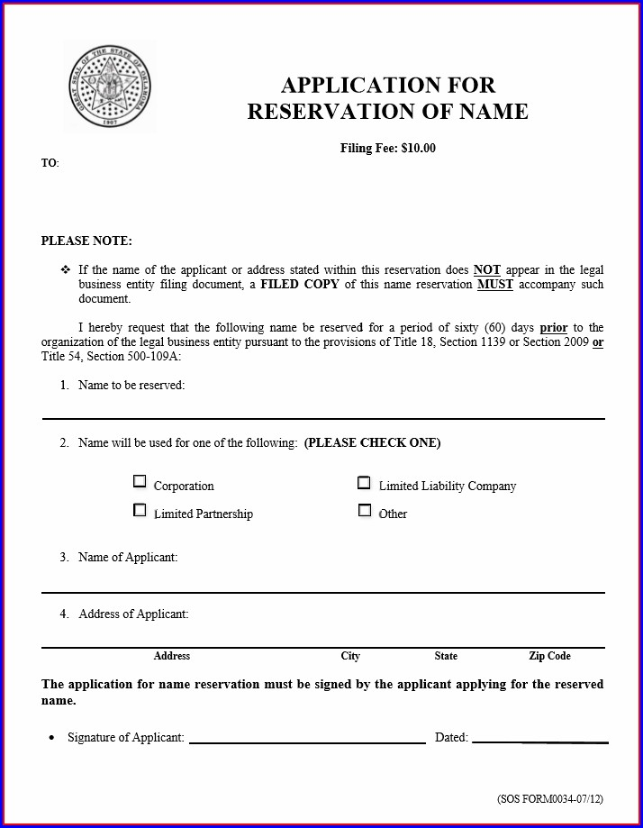 Articles Of Incorporation Oklahoma Template
