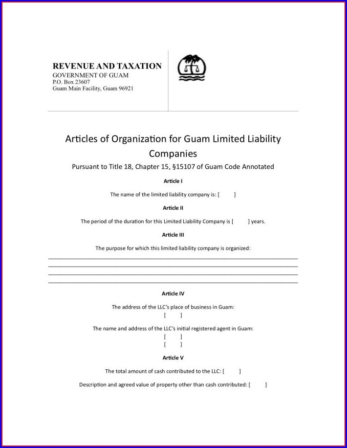 Articles Of Incorporation Template Llc