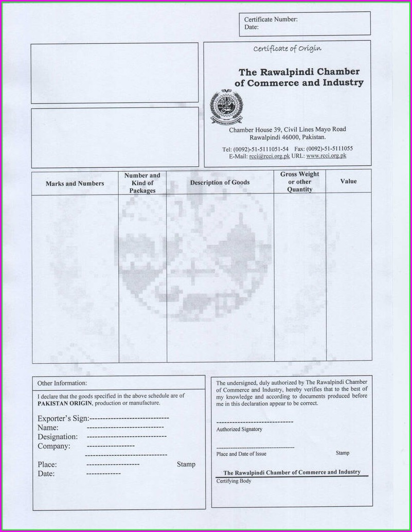 Certificate Of Origin Form Usa To Colombia Template