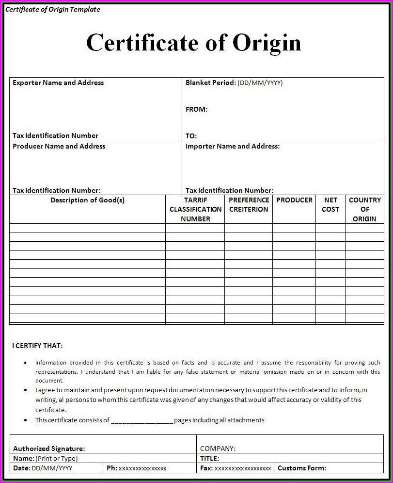 Certificate Of Origin Usa Colombia Template