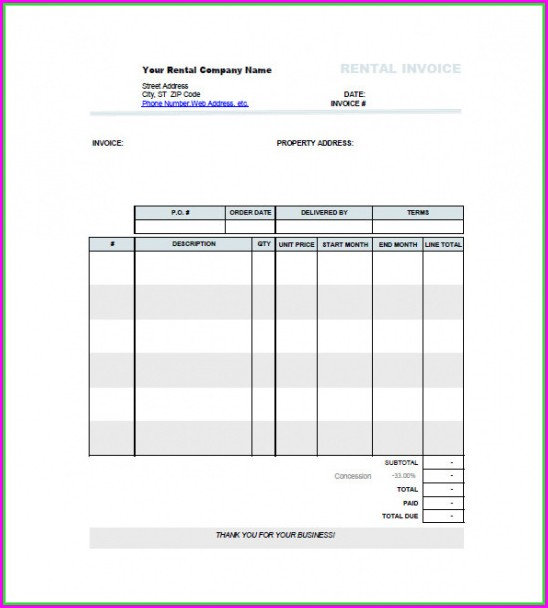 Commercial Property Rent Invoice Template