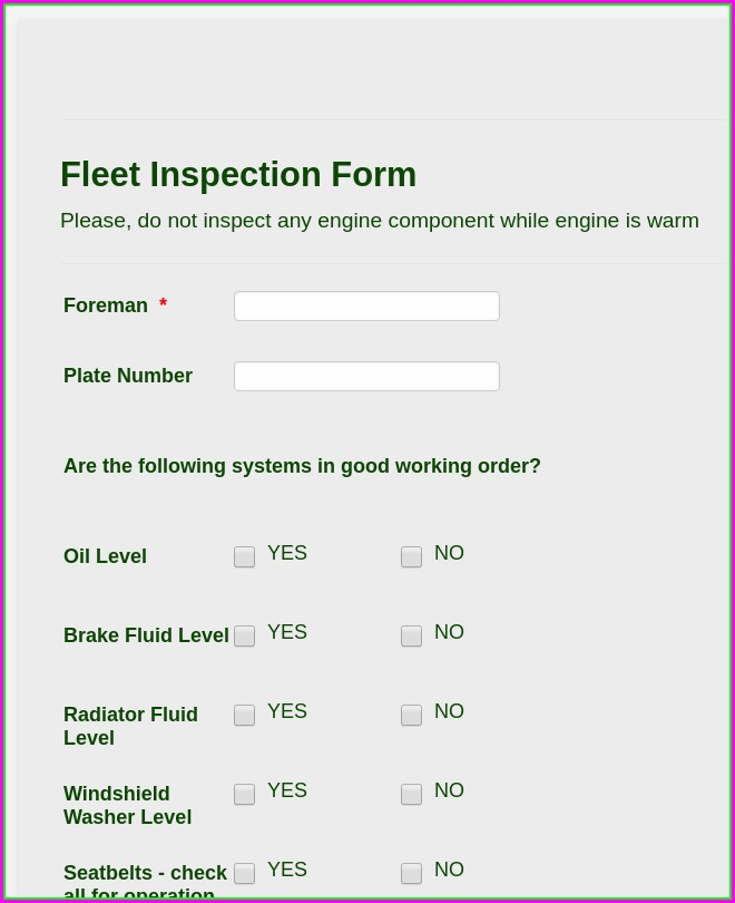 Fleet Vehicle Inspection Form Template