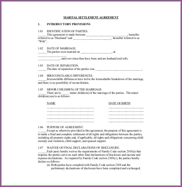 Free Marital Settlement Agreement Template