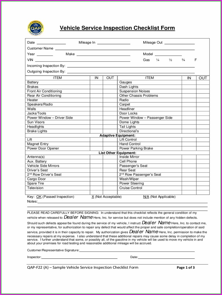 Free Vehicle Inspection Form Template Download