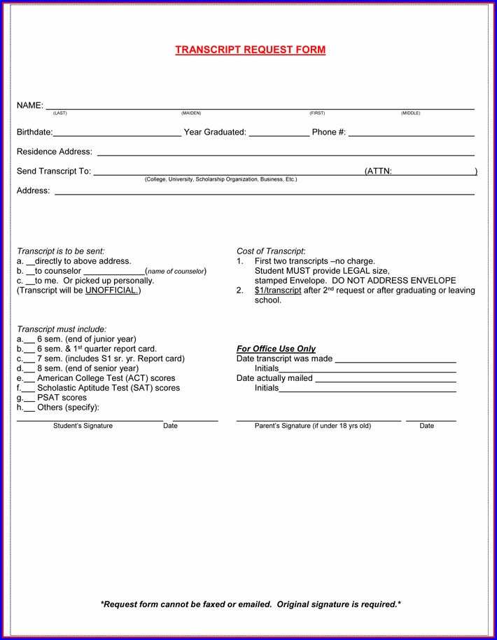 High School Transcript Template Doc