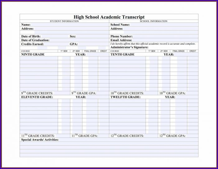 High School Transcript Template Free