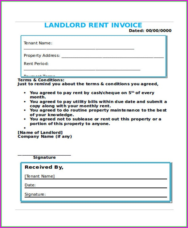 Landlord Rent Invoice Template