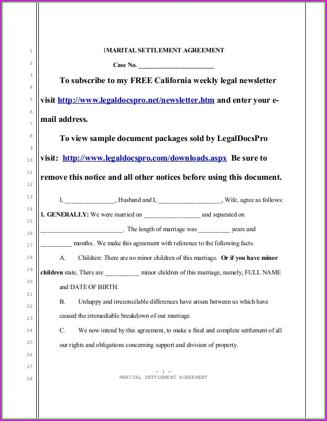 Marital Settlement Agreement Template California